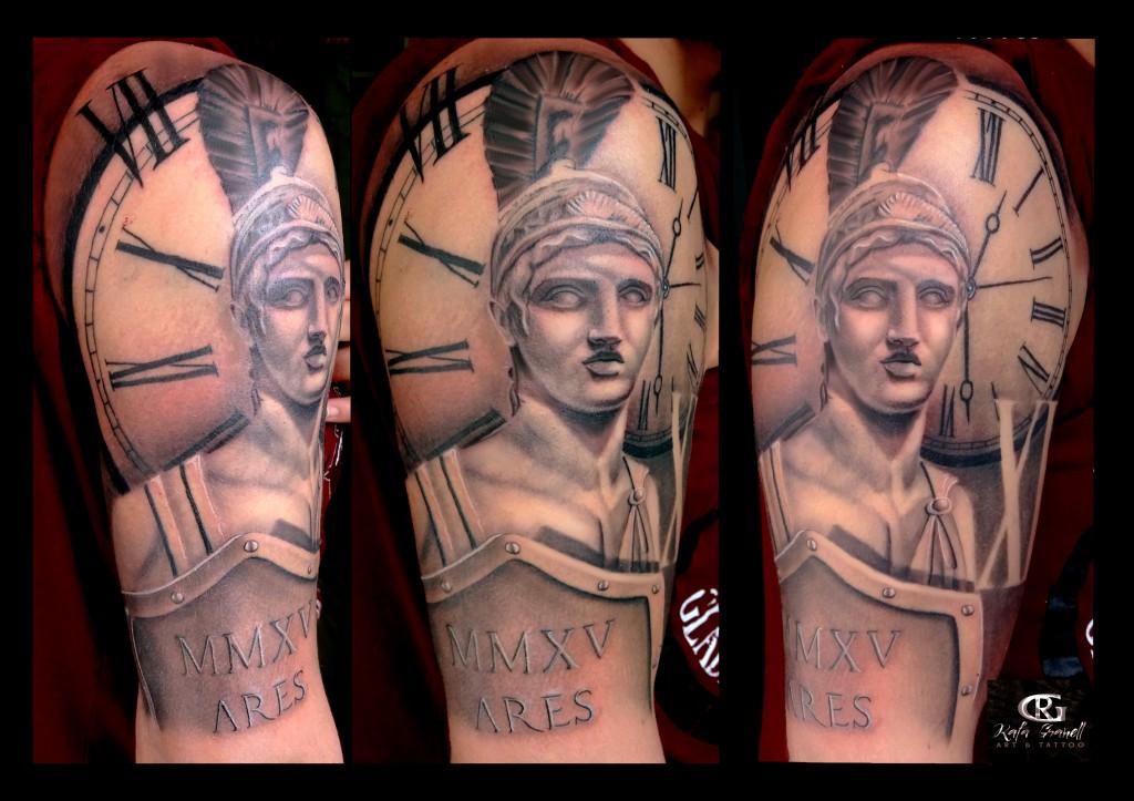 ares#esculturas#griega#dioses#mitologicos#mitologia#griega#escultura#relojes#reloj#realismo#realista#tattoo#tatuajes#valencia#tatuador#valenciano#rgtattoo#rafa#granell#blanco y negro#numeros#romanos