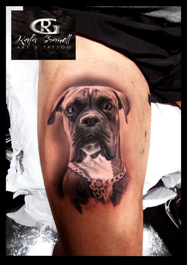 tatuajes#animales#perros#boxer#realistas#realismo#tattoo#realista#retratos#blanco#negro#valencia#tatuador#valenciano#español#piernas#muslo#rafa#granell#rgtattoo#
