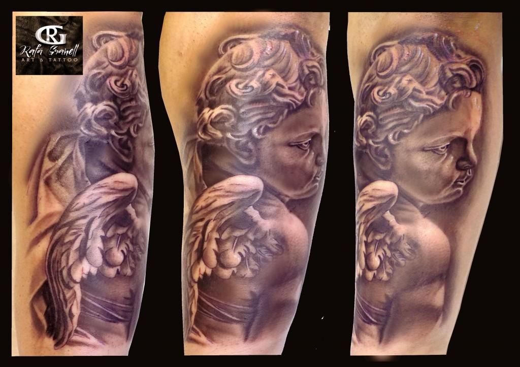 angel#querubin#angeles#esculturas#escultura#vaticano#roma#tatuajes#tattoo#realismo#realista#tatuador#valenciano#valencia#rgtattoo#rafa#granell#blanco y negro
