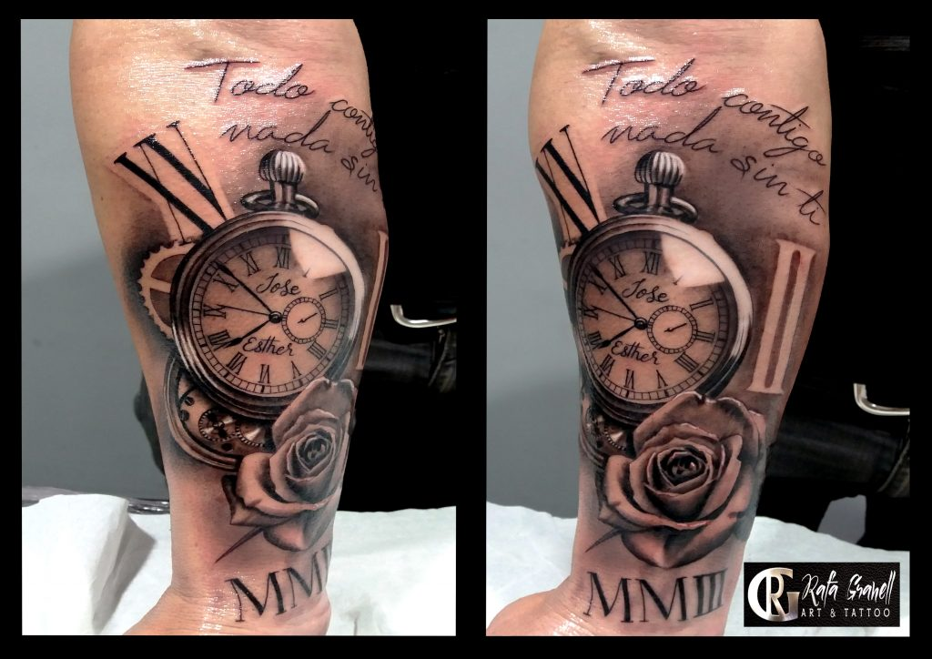 relojes#tattoo#tatuajes#pocket#clock#tattoos#rosas#rgtattoostudio#rafagranelltattoo#tatuadores#valencianos#españoles#mejores#realismo#realistas#tatuajes#blancoynegro#numeros#romanos#brazos#antebrazos#ideas#inkmaster#ink#inked