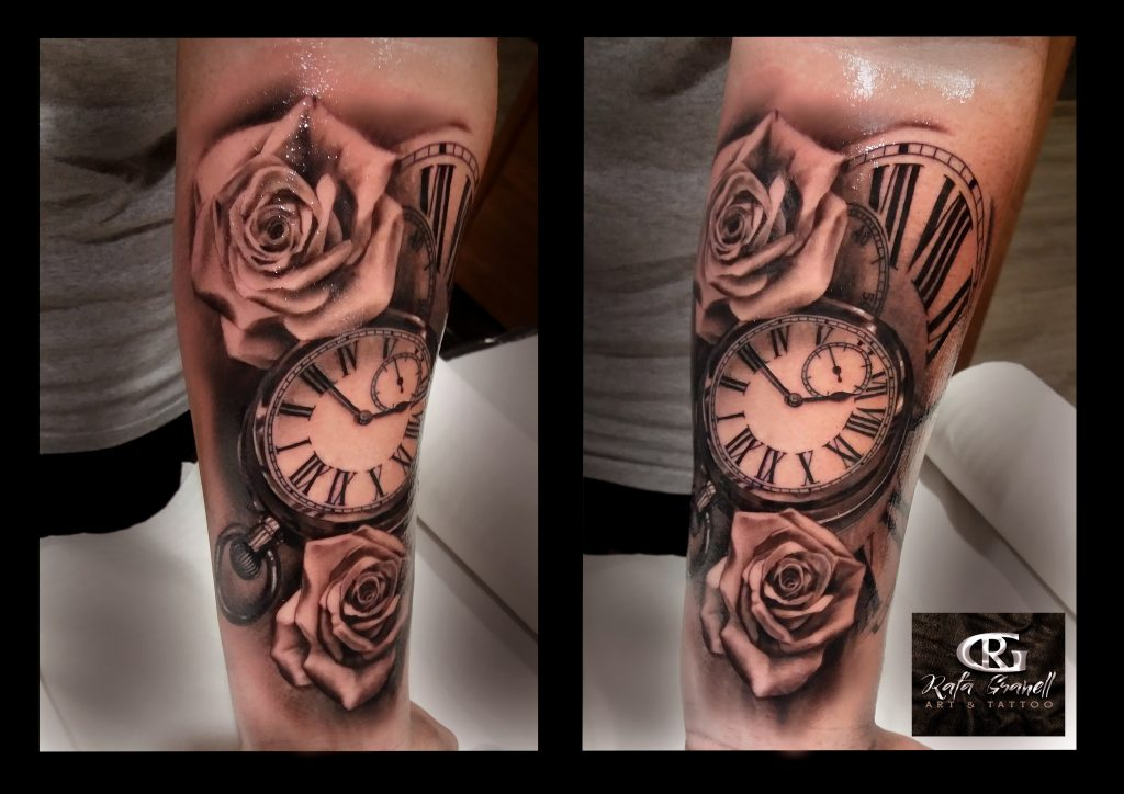 reloj#relojes#rosas#numeros#romanos#tattooss#tatuajes#realistas#valencia#españa#blanco#negro#realismo#brazo#antebrazo#rafa#granell#rgtattoo#mejores#tatuadores#valencianos#españoles#tatuador#valenciano#español#