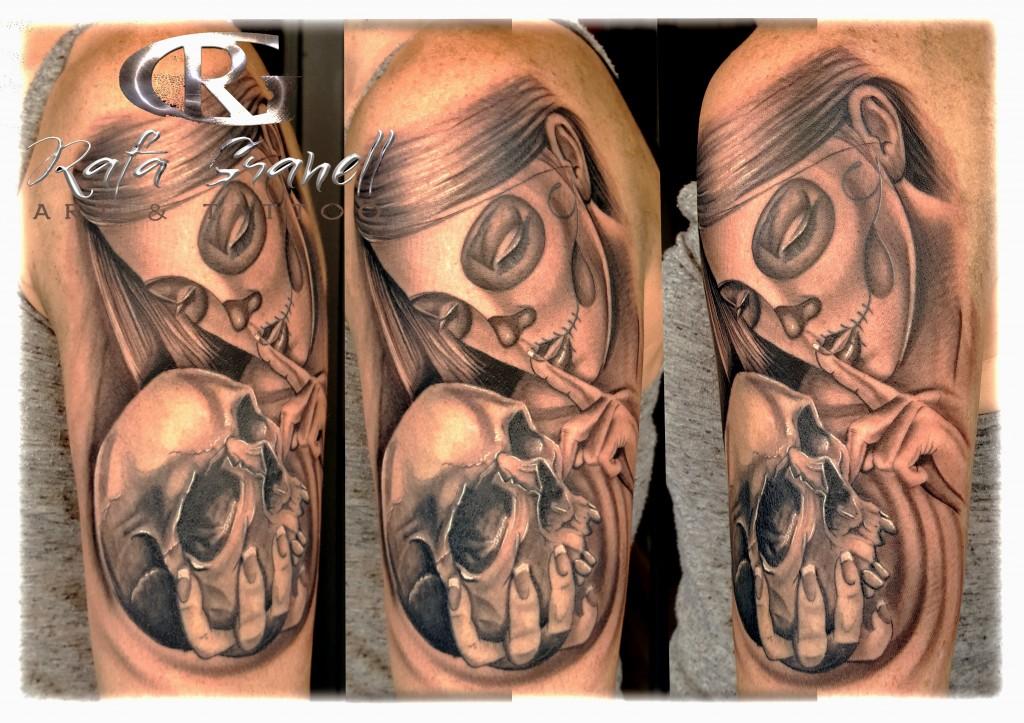 catrina#tattoo#blanco y negro#calavera#chicano#tatuajes valencia#rgtattoo#rafagranelltattoo#realismo